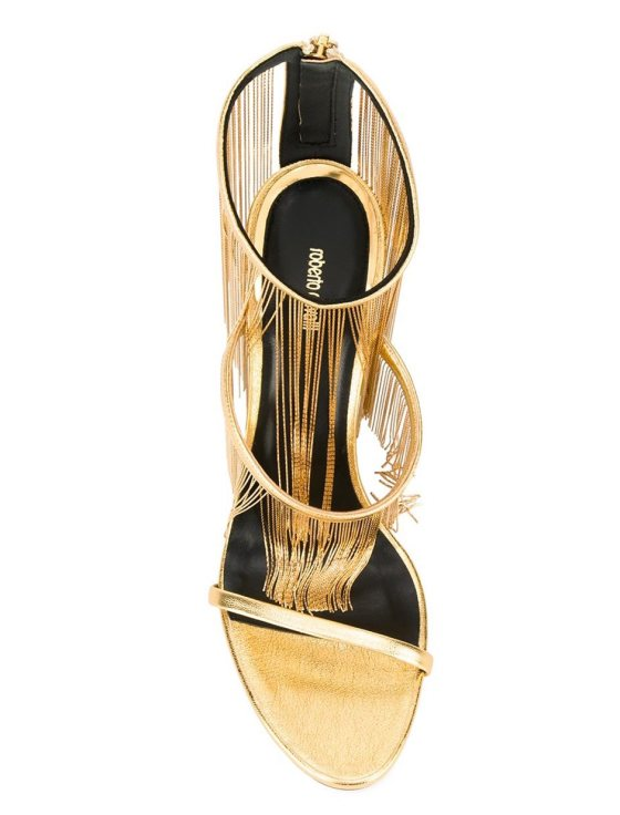 ROBERTO CAVALLI  fringed metallic sandals