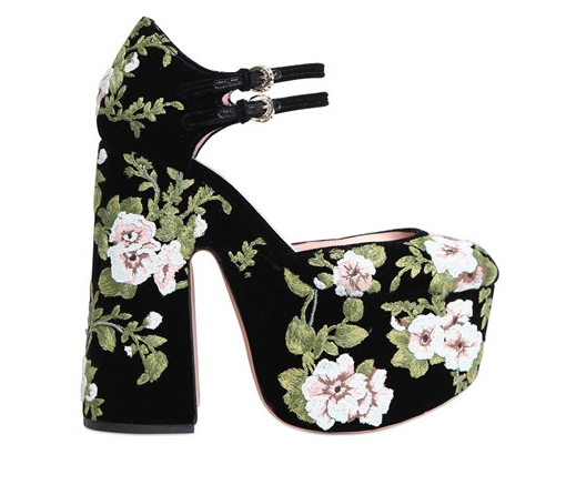 Rochas Velvet Embroidered Pumps, $1,920