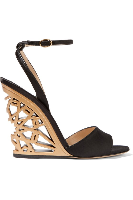 Paul Andrew Kismet Satin Wedge Sandals, $895, via Net-a-Porter