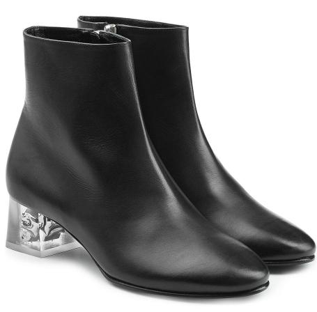 Alexander McQueen Leather Skull-Heel Ankle Boot, $1,265