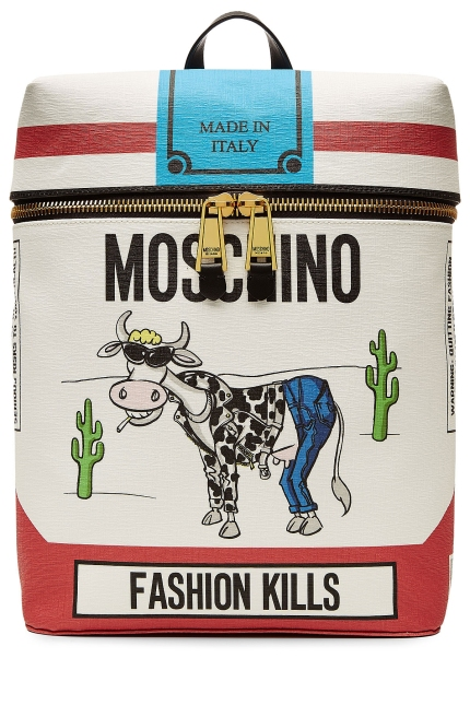 MOSCHINO 'Fashion Kills' Printed Backpack, $850, via Shopbop