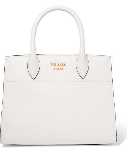 Prada Bibliothèque watersnake-paneled leather tote, $3,580, via Net-a-Porter